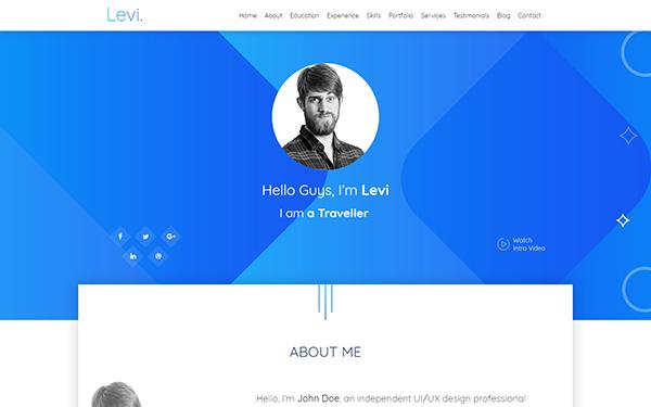 Levi - Bootstrap 4 vCard & Portfolio | Portfolios & Resumes ...
