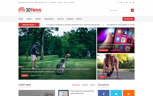 TenNews - Bootstrap News Agency