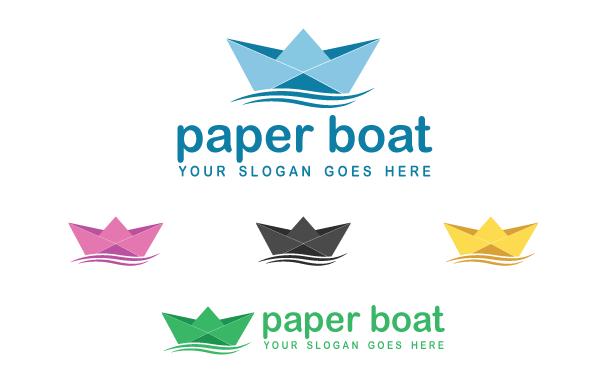 Paper Boat Logo Template