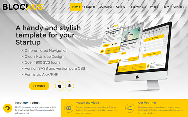 Blockus - Stylish Business Template - Live Preview - WrapBootstrap