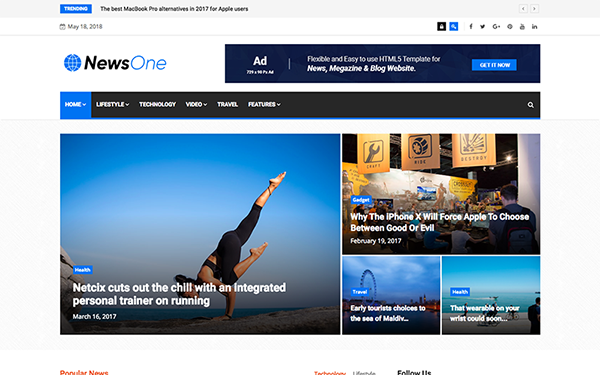 NewsOne - News Magazine HTML5 Template