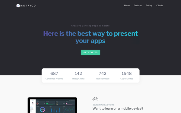 Metrico - Bootstrap 4 Landing Page Template
