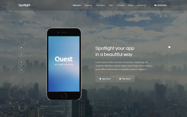 Spotlight - App Landing Page - Live Preview - WrapBootstrap