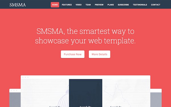 Smsma - Landing Page - Live Preview - WrapBootstrap