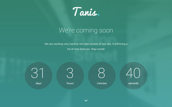 Tanis - Coming Soon WordPress Theme - Live Preview - WrapBootstrap