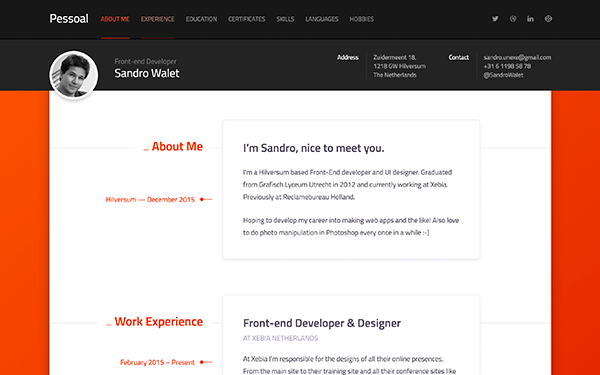 Pessoal - Modern Resume Theme - Live Preview - WrapBootstrap