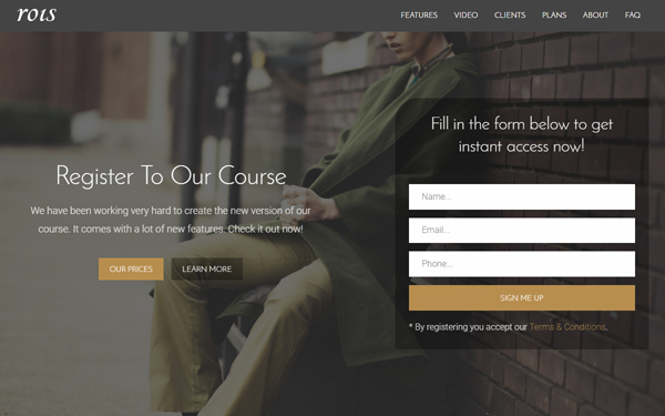 Rois: 20+ Bootstrap Landing Pages