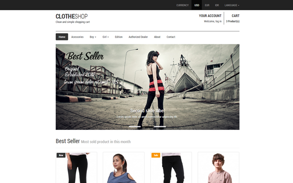 Clotheshop - Responsive Shopping Cart