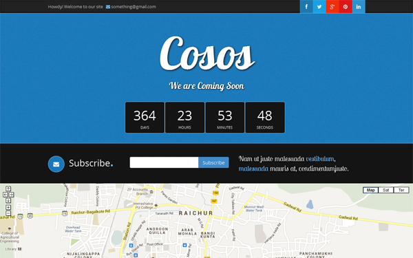 Cosos - Bootstrap Coming Soon Theme