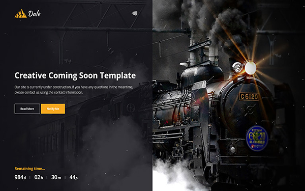 Dale - Creative Coming Soon Template - Live Preview - WrapBootstrap