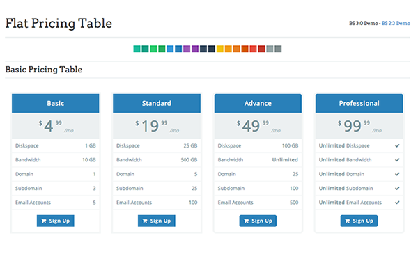 Flat Pricing Table - Live Preview - WrapBootstrap