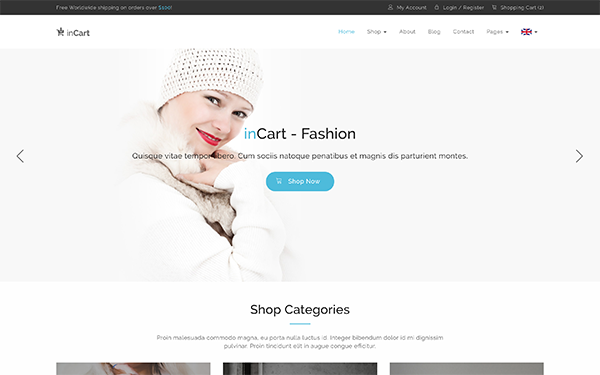 Incart responsive shop template wrapbootstrap for Getbootstrap com templates