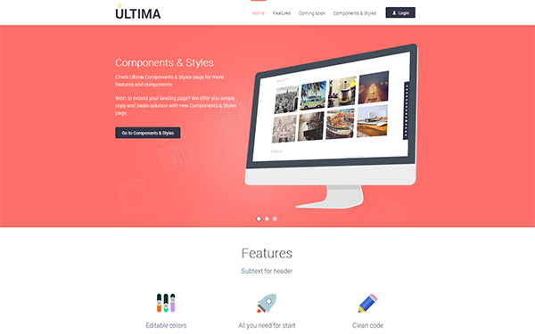 ULTIMA - Awesome Flat Landing Page