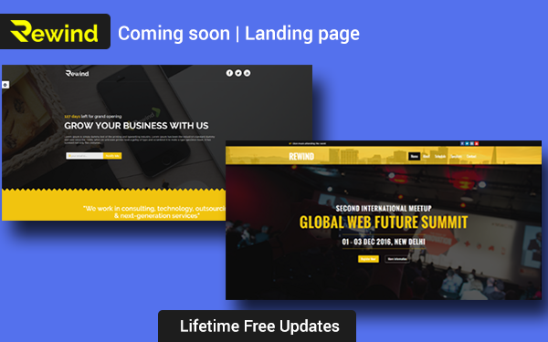 rewind coming soon landing page landing pages wrapbootstrap. Black Bedroom Furniture Sets. Home Design Ideas