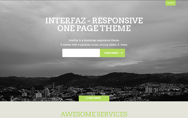 Interfaz - Responsive One Page Theme | Bootstrap Landing Pages ...