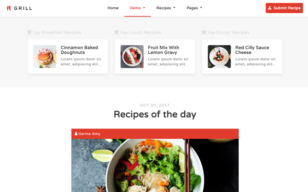 Grill - Recipes & Food Blog Template