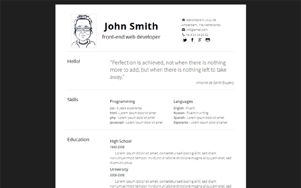Simply   Minimal, Responsive Resume | Bootstrap Portfolio And Resume  Templates | WrapBootstrap  Bootstrap Resume Template