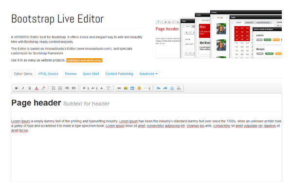 Bootstrap Live Editor