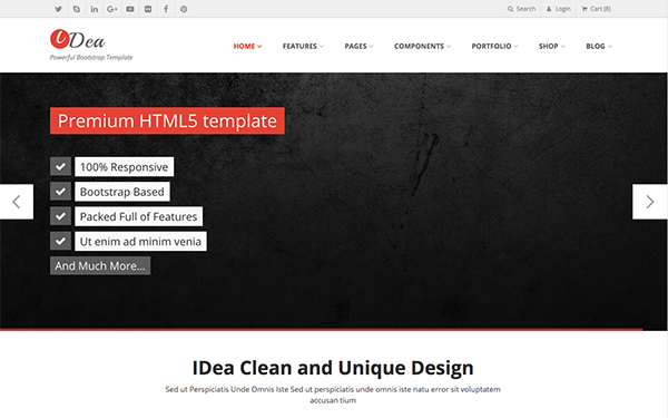 Idea responsive website template wrapbootstrap idea responsive website template fbccfo Images