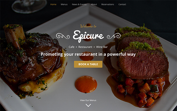 epicure for restaurants bootstrap 4 wrapbootstrap