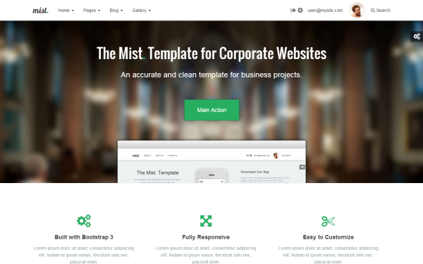 Mist Multipage Business Template Wrapbootstrap