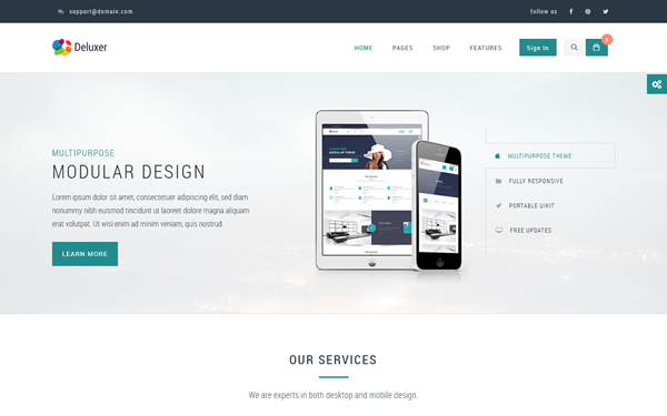 Deluxer Business + Shop + 1Page Theme