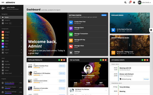 [DOWNLOAD] - Admetro - Bootstrap 4 Admin Template