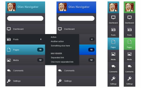 Sanoor Sidebar Nav Components Wrapbootstrap
