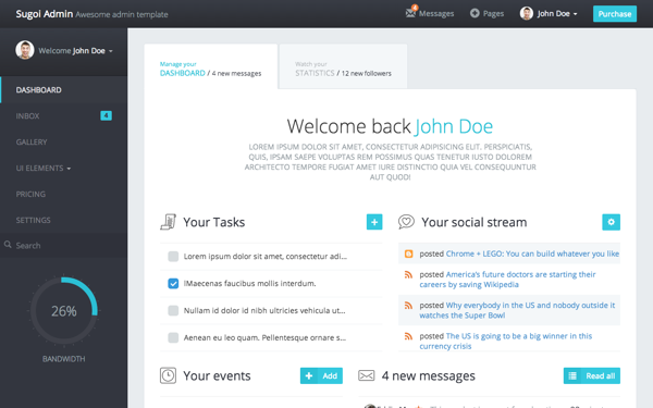 Sugoi Admin - Live Preview - WrapBootstrap