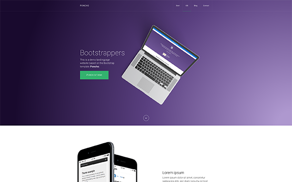 Poncho Single Page AppAgency Template WrapBootstrap - Bootstrap landing page template