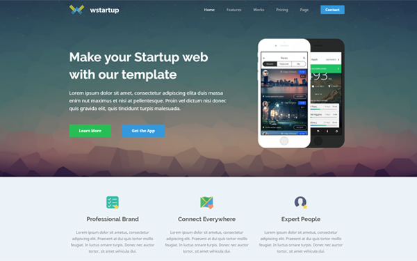 Wstartup Responsive Startup Landing Page - Live Preview - WrapBootstrap