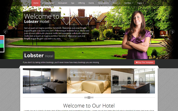 Lobster Hotel - Responsive HTML Template