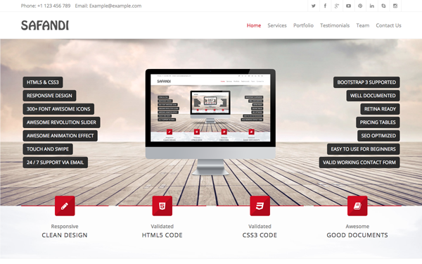 safandi html5 css3 one page template wrapbootstrap