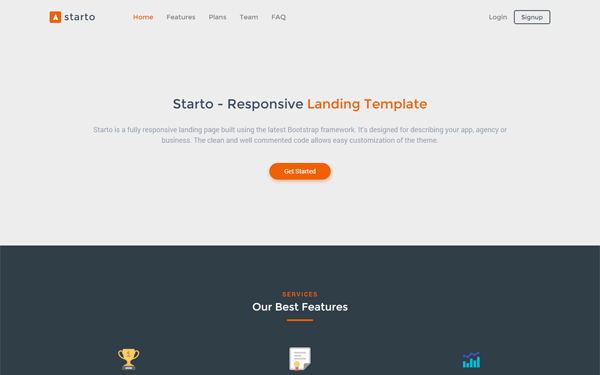 Starto Bootstrap 4 Landing Page Template Wrapbootstrap