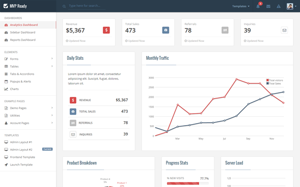 Admin & Dashboard Themes - MVP Prepared - <p>With Front-end themes included!</p>