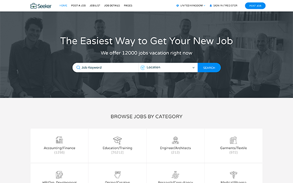 Seeker job board html template