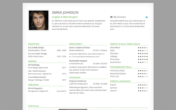 Derek - Responsive One-Page Resume - Live Preview - WrapBootstrap