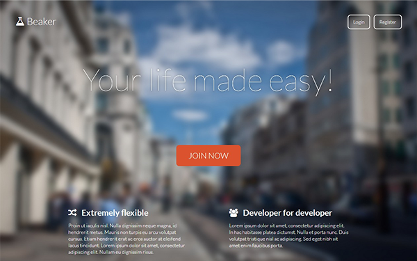 Beaker - Responsive Working Landing Page - Live Preview - WrapBootstrap