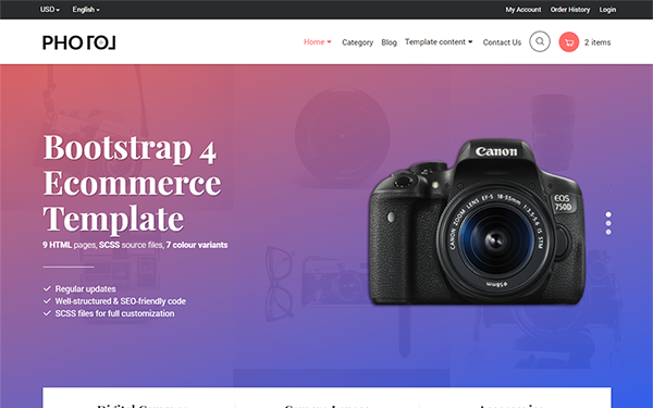 Photo bootstrap 4 ecommerce template