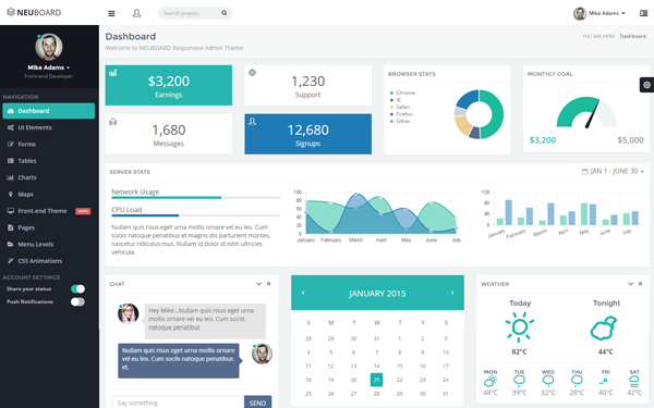 Neuboard webapp admin theme wrapbootstrap for Asp net design templates free download