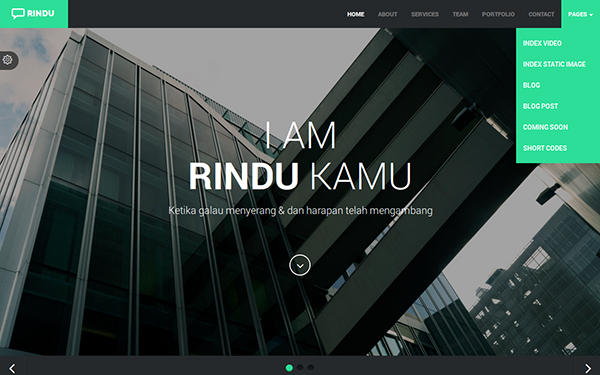 RINDU - Responsive Web Template - Live Preview - WrapBootstrap