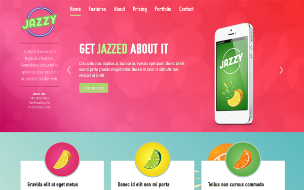 Jazzy - A Fun Parallax Theme | Landing Pages | WrapBootstrap