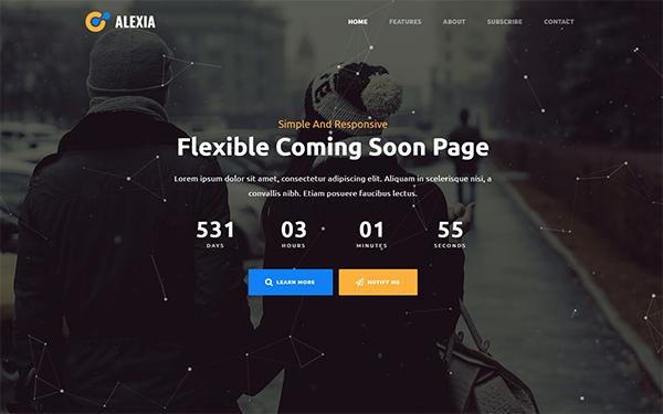 Alexia - Simple Coming Soon Page - Live Preview - WrapBootstrap