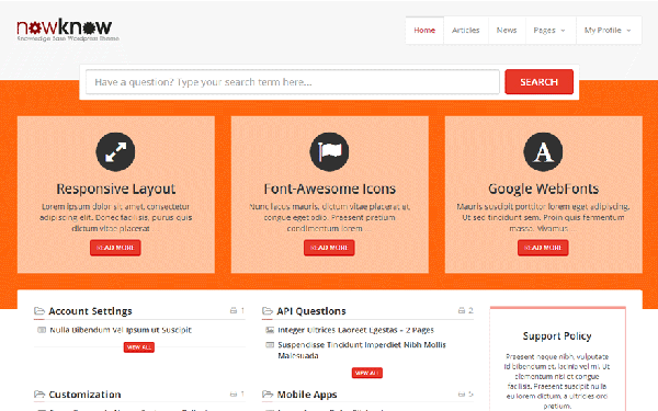 NowKnow - Knowledge Base WordPress Theme | WordPress | WrapBootstrap