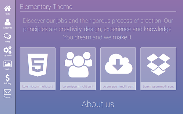 Elementary - One Page Elegant Theme - Live Preview - WrapBootstrap