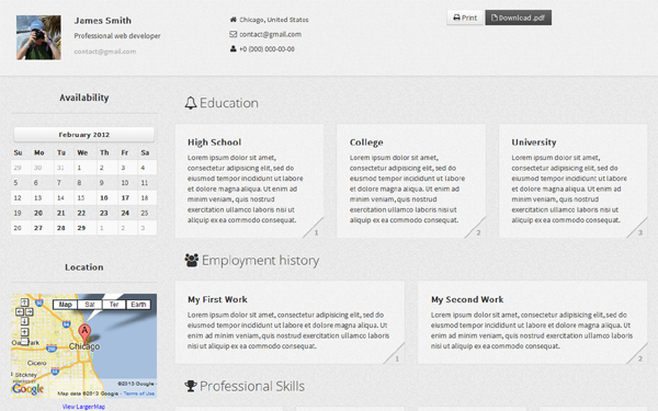 CV Gris - Resume Theme - Live Preview - WrapBootstrap