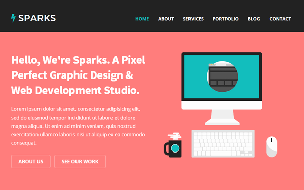 Sparks - One Page Responsive Theme - Live Preview - WrapBootstrap