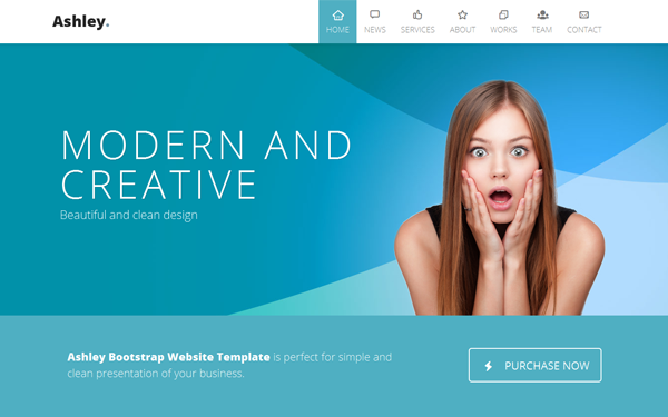 Ashley one page parallax portfolios wrapbootstrap for Free html5 parallax scrolling template