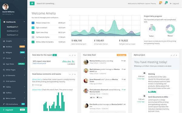 Inspinia responsive admin theme admin dashboards for Html side menu bar template