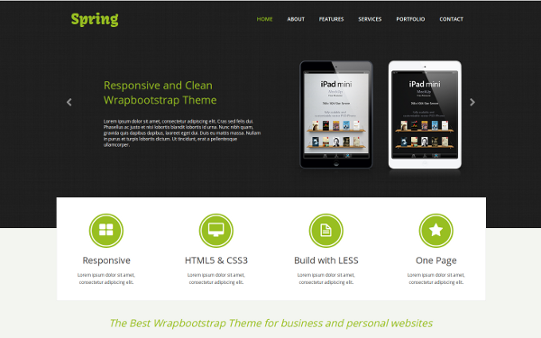 Spring - One Page Responsive Template | Portfolios | WrapBootstrap ...